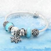 Pandora Sterling Prata esmalte de vidro Murano Cubic Zirconia do floco de neve do pinguim Winter Wonderland Azul Preto Branco Pulseira