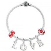 Pandora Vermelho Amor Prata Pulseira