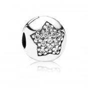 Pandora abrir estrela cúbicos zircônia Prata clipe de Charms