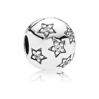 Pandora abrir estrelas cúbicos zircônia Prata clipe de Charms