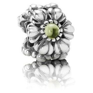 Pandora agosto das flores de aniversário Charms - aniversário aposentado Sterling Prata agosto Flores Contas com Peridot