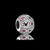 Pandora da Disney Sparkling Mickey & corações Charms