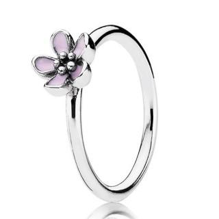 Pandora da flor de cerejeira com Rosa esmalte empilháveis Aneis