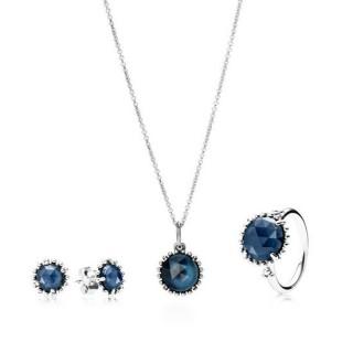 Pandora da meia-noite Azul Cristal Conjunto de Jóias