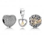 Pandora delicado corações Charms Set