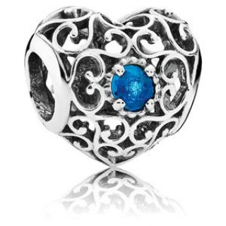 Pandora dezembro Assinatura Charms Coração de Londres Azul Crystal - Sterling Prata dezembro encanto Assinatura Coração com Londres Azul Cristal