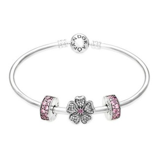 Pandora espumantes Apple Blossoms Conclua Rosa Bangle