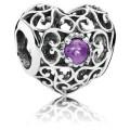Pandora fevereiro Assinatura Charms do coração Amethyst sintético - Sterling Prata fevereiro Assinatura do encanto do coração com ametista sintética