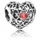 Pandora janeiro Assinatura Charms Coração Garnet - Sterling Prata janeiro Assinatura do encanto do coração com Garnet
