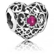 Pandora julho Assinatura Coração Charms sintética Ruby - Sterling Prata julho encanto Assinatura do coração com rubi sintético