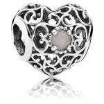 Pandora junho Assinatura Coração Charms Cinzento Moonstone - Sterling Prata junho encanto Assinatura Coração com cinzento Moonstone