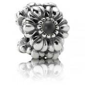 Pandora junho das flores de aniversário Charms - Exibir Sterling Prata Aniversário de junho Flores Contas com cinza Moonstone