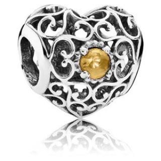 Pandora novembro Assinatura Charms Coração Citrino - Sterling Prata novembro encanto Assinatura Coração com Citrino