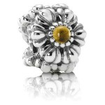 Pandora novembro das flores de aniversário Charms - Exibir Sterling Prata do aniversário de novembro Flores Contas com Douradoen Citrino