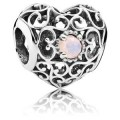 Pandora outubro Assinatura Coração Charms Opalescent Rosa Crystal - Sterling Prata outubro encanto Assinatura Coração com Opalescent Rosa Cristal