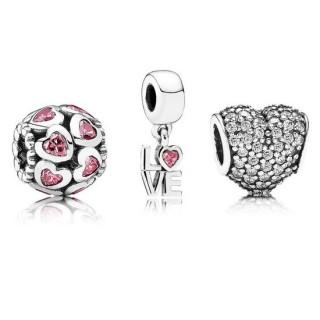 Pandora pensamento de amor Charms Set